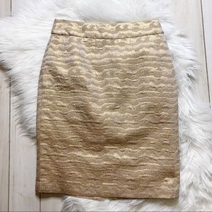 J. Crew Collection Metallic Gold Pencil Skirt